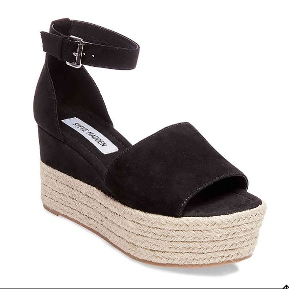 014774ae014 Steve Madden Apolo Black Suede Wedge Sandal 7.5 NWT